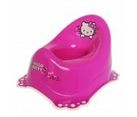 Детско гърне Hello Kitty с гумирана основа розово