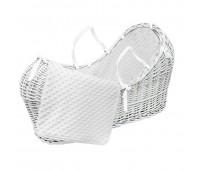 Плетено бебешко кошче - бяло