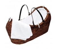 Плетено бебешко кошче - кафяво
