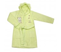 Детски халат с качулка - мече светло зелен