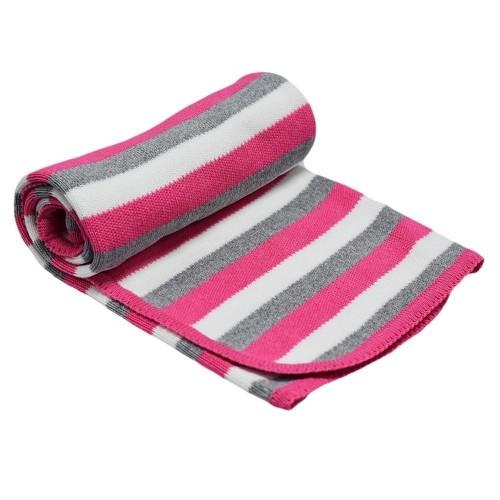 Детско одеяло на райе розово