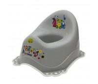Детско гърне Little Bears & friends с гумирана основа сиво