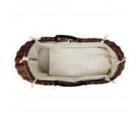 Тъмно плетено кошче за новородено с бял спален комплект