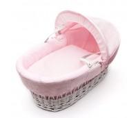 Плетена бебешка кошница със сенник - светло розова
