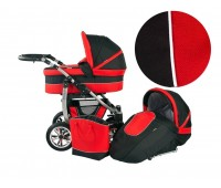 Детска количка 2 в 1, Baby Merc, модел Leo - Черно с червено