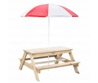 Комплект детска дървена пейка с маса за игра на открито