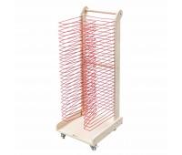 Дървен подвижен стелаж за съхранение и съхнене на 30 рисунки