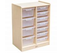 Дървен скрин с кутии за съхранение на играчки