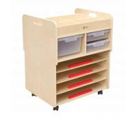 Подвижен шкаф за съхранение на рисунки и пособия за рисуване