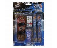 Комплект играчки за пръсти - Сноуборд и ски, черно и бяло-оранжево