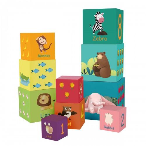 Картонени кубчета за редене - горски животни