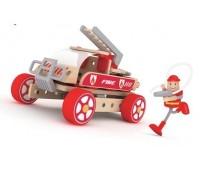 Дървен конструктор за деца - Пожарникарска кола