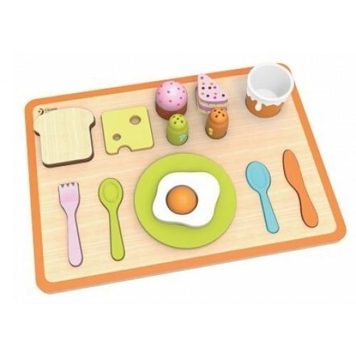 Детски дървен комплект закуска - зелен
