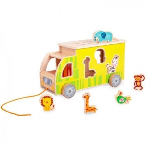 Дървен детски сортер - камион с животни