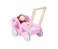 Детска розова количка за кукли - проходилка