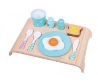 Детски дървен комплект закуска - син