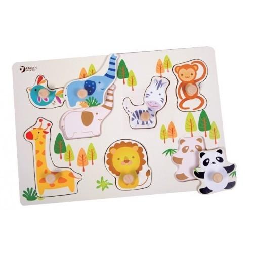 Детски дървен пъзел - зоологическа градина