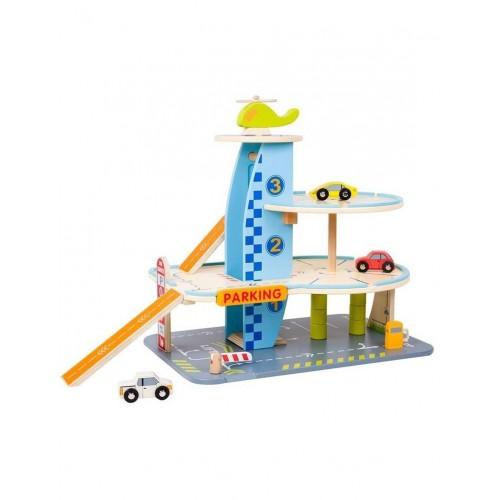 Детски дървен гараж с колички - 3 нива