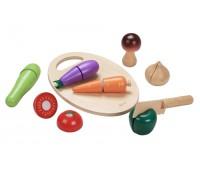 Детски дървен комплект за рязане - зеленчуци
