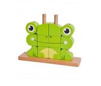 Дървен пъзел за деца от кубчета - Жабче