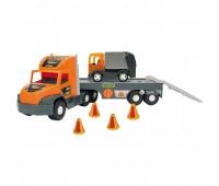 Гигантски камион играчка с ремарке и малко камионче