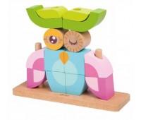 Дървен пъзел за деца от кубчета - бухал