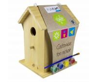 Дървена къщичка за птички с бои за оцветяване