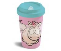 Бамбукова чаша с капак Еднорогът Theodor, розова