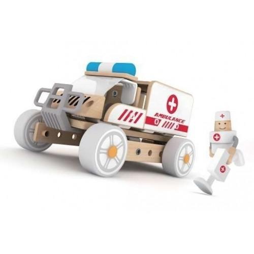 Дървен конструктор за деца - Линейка