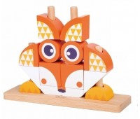 Дървен пъзел за деца от кубчета - Лисица