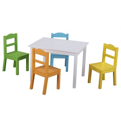 Детска дървена маса с 4 стола