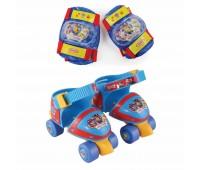 Комплект ролкови кънки, наколенки и налакътници Пес Патрул, размер 24-29