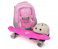 Комплект раница + каска + скейтборд, Funbeе розов/ сив
