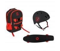 Комплект раница + каска + скейтборд, Funbeе черен/червен