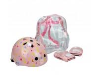 Комплект каска, наколенки и налакътници за момиче- розов