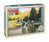 Пъзел Cobble Hill от 500 части - Кравите холщайн, Дъглас Лейрд