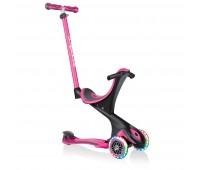 Тротинетка с родителски контрол 5 в 1 Globber Go Up Comfort Lights - розова