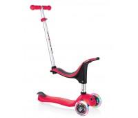 Тротинетка - триколка EVO 4 в 1 Light за деца със светещи колела - Червена