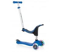 Тротинетка - триколка EVO 4 в 1 Light за деца със светещи колела - Синя
